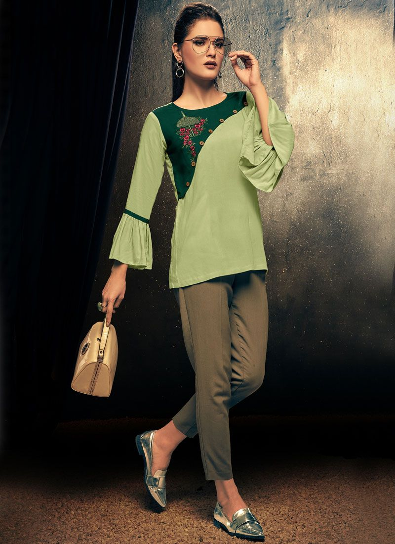 Embroidered Rayon Casual Kurti in Green