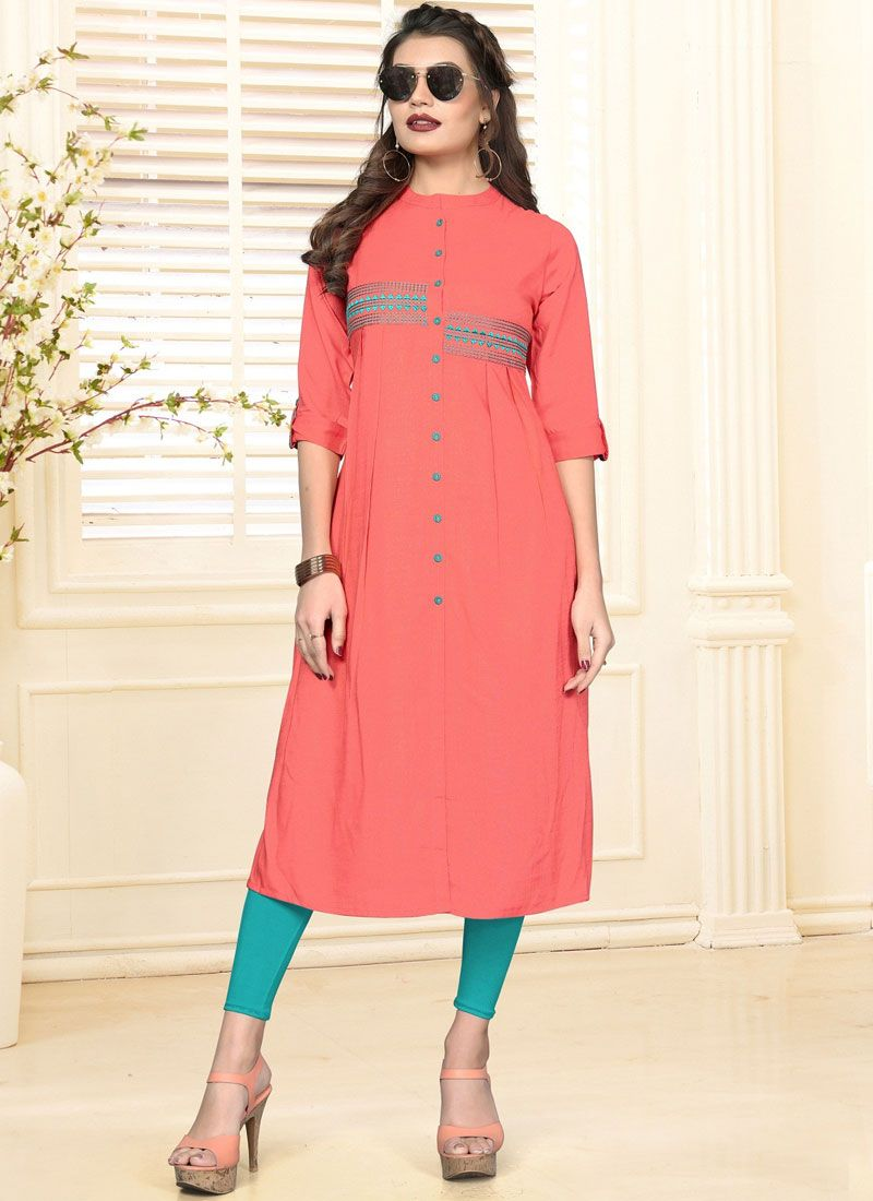 Embroidered Rayon Casual Kurti in Peach