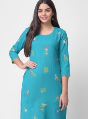 Embroidered Rayon Designer Kurti in Blue