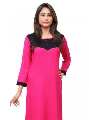 Embroidered Rayon Designer Kurti in Magenta