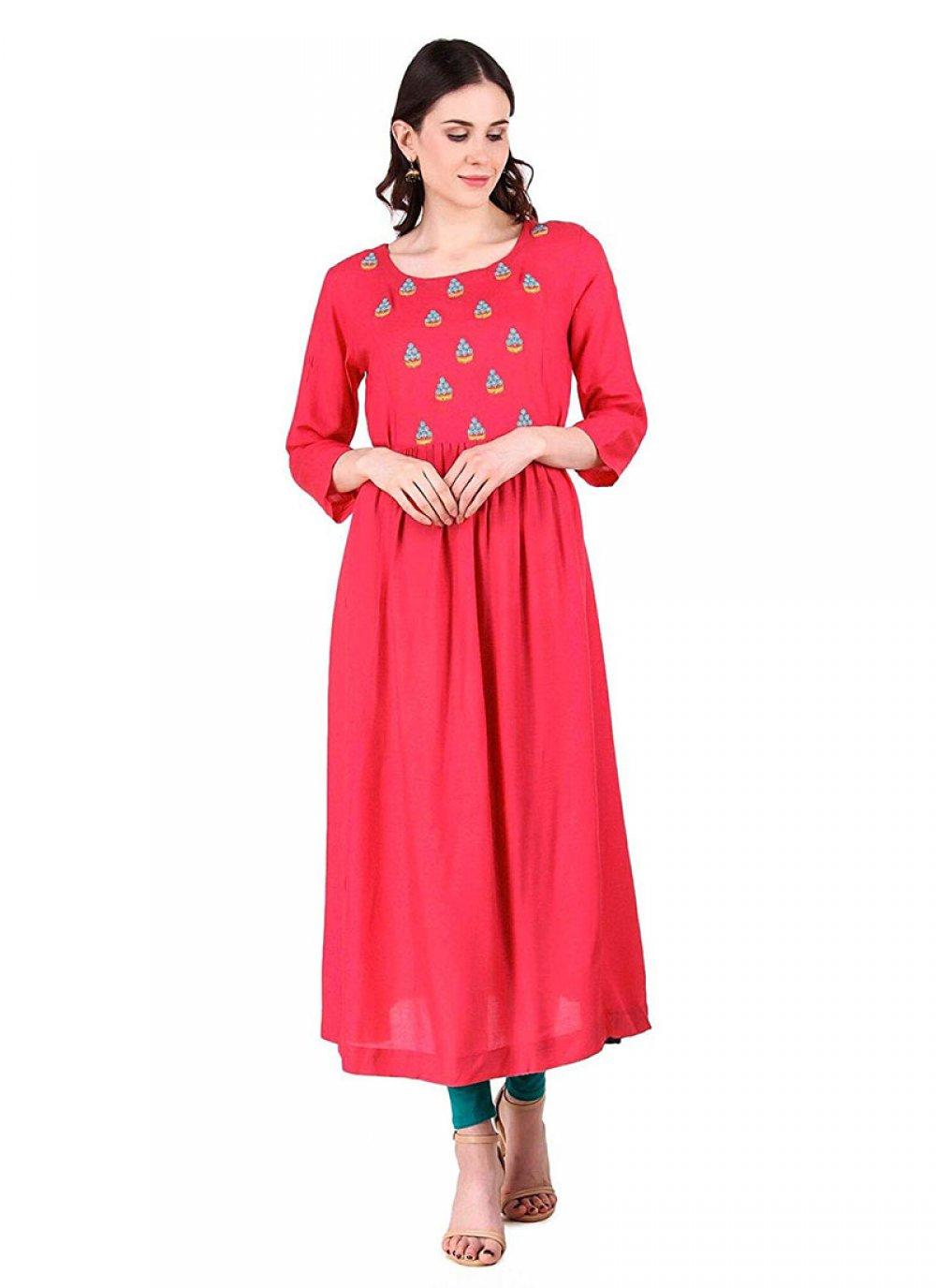 Embroidered Rayon Designer Kurti in Pink