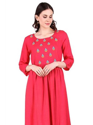 Embroidered Rayon Designer Kurti in Pink