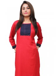 Embroidered Rayon Designer Kurti in Red