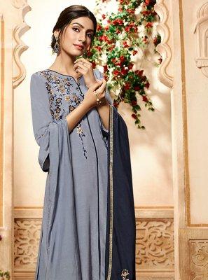 Embroidered Rayon Grey Designer Palazzo Salwar Suit