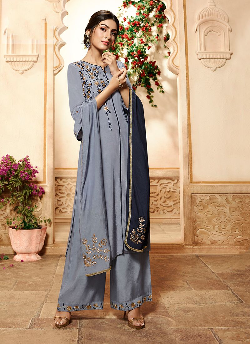 Embroidered Rayon Grey Designer Palazzo Salwar Suit