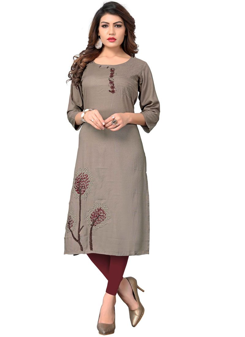 Embroidered Rayon Grey Party Wear Kurti