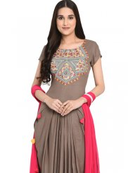 Embroidered Rayon Grey Readymade Salwar Kameez