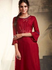Embroidered Rayon Maroon Casual Kurti