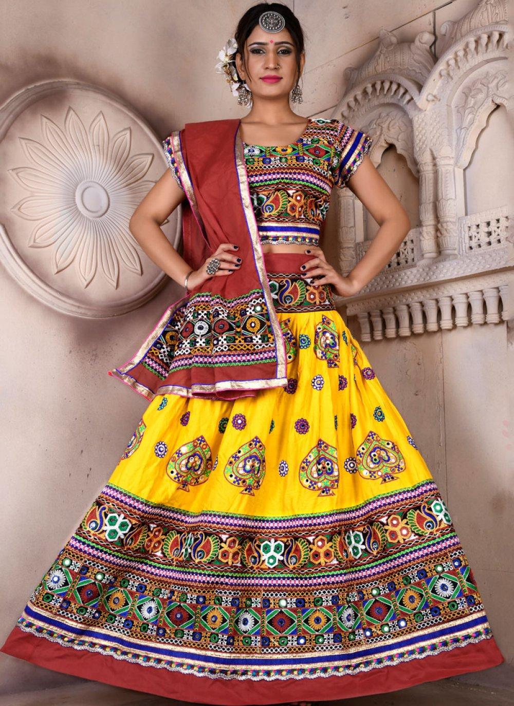 Embroidered Rayon Multi Colour Lehenga Choli
