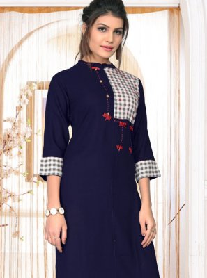 Embroidered Rayon Navy Blue Party Wear Kurti