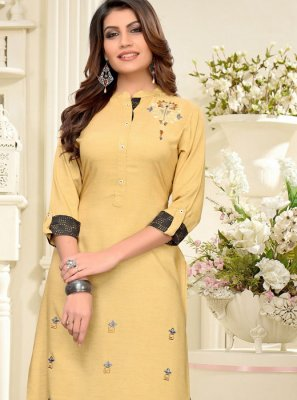 Embroidered Rayon Party Wear Kurti in Beige