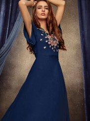 Embroidered Rayon Party Wear Kurti in Blue