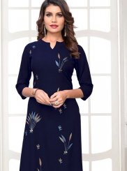 Embroidered Rayon Party Wear Kurti in Navy Blue