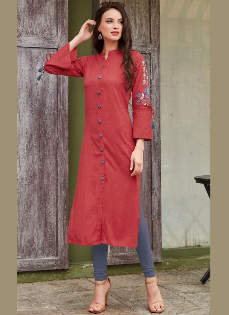 Embroidered Rayon Party Wear Kurti in Red