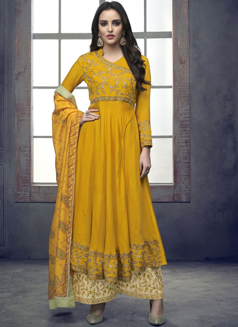 Embroidered Rayon Readymade Suit in Yellow