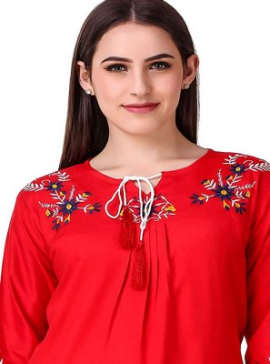 Embroidered Rayon Red Casual Kurti