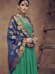 Embroidered Rayon Sea Green Readymade Anarkali Suit