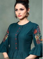 Embroidered Rayon Teal Party Wear Kurti