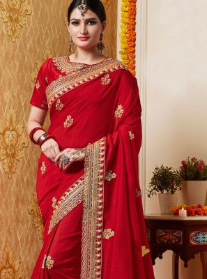 Embroidered Reception Silk Saree
