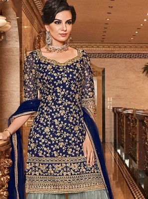 Embroidered Reception Trendy Palazzo Salwar Kameez