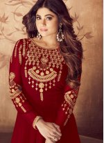 Embroidered Red Anarkali Salwar Suit