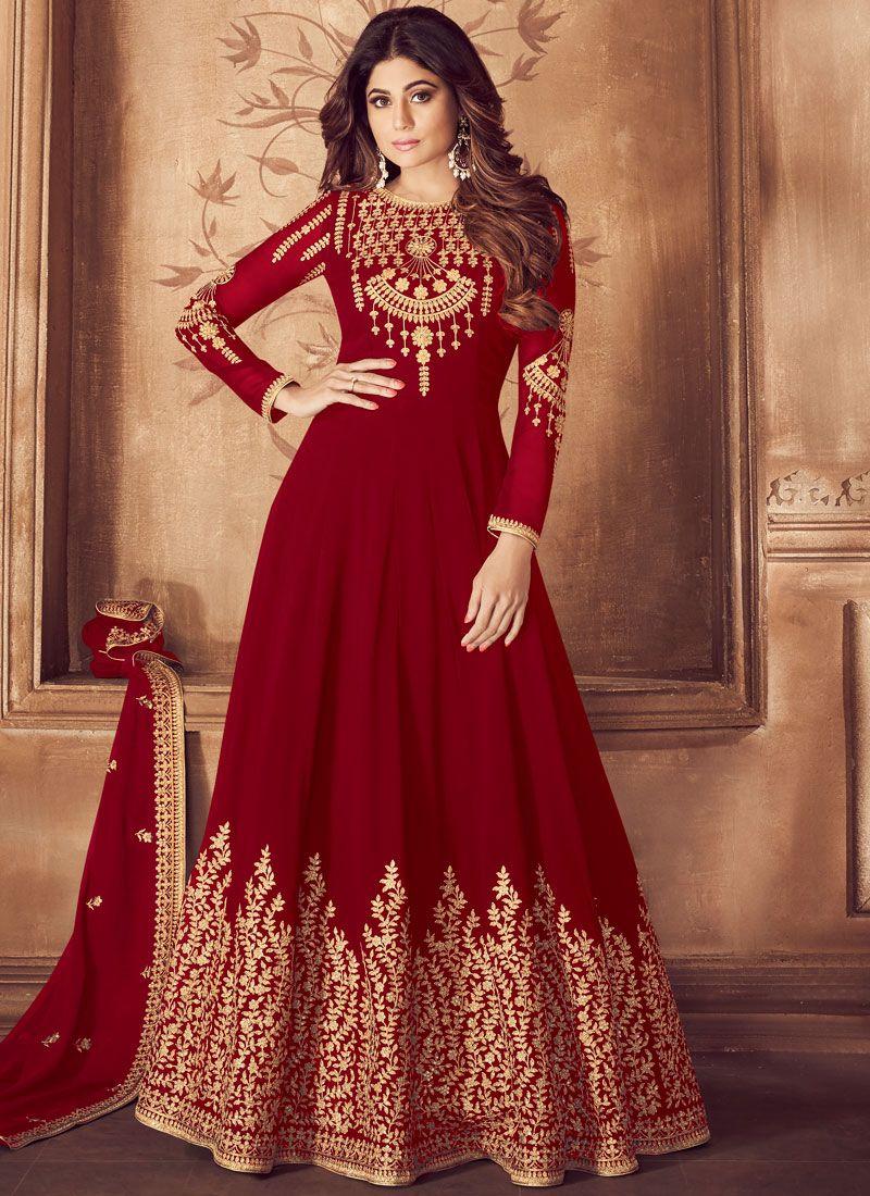Embroidered Red Anarkali Salwar Suit