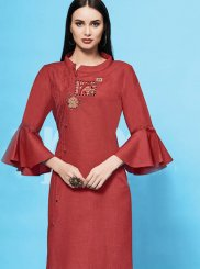 Embroidered Red Casual Kurti