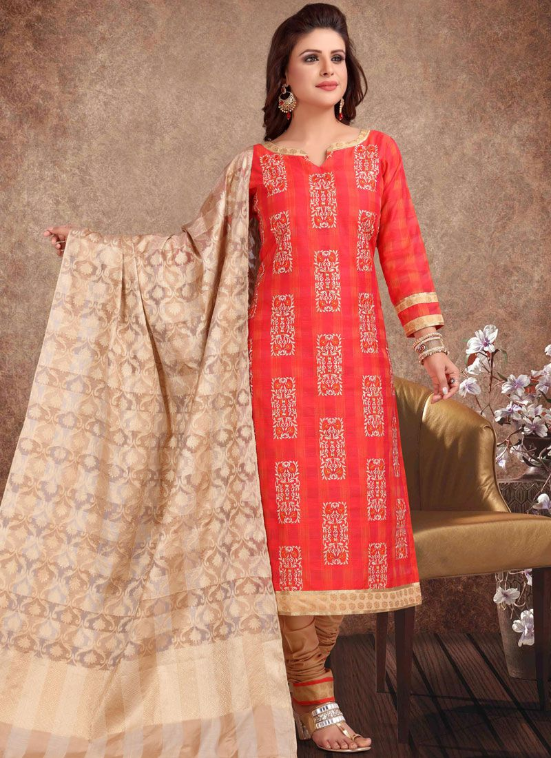 Embroidered Red Churidar Salwar Suit