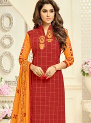 Embroidered Red Churidar Suit