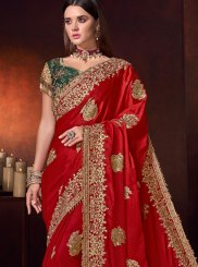 Embroidered Red Classic Designer Saree