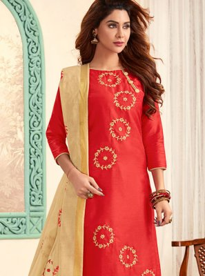 Embroidered Red Cotton Churidar Designer Suit