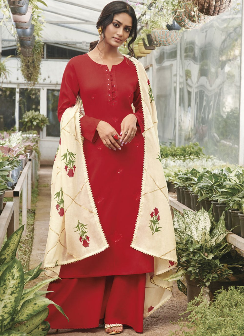 Embroidered Red Cotton Satin Designer Palazzo Salwar Suit