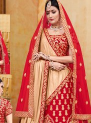 Embroidered Red Designer A Line Lehenga Choli