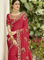 Embroidered Red Designer Saree