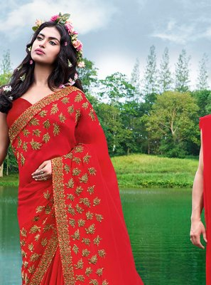 Embroidered Red Faux Georgette Casual Saree