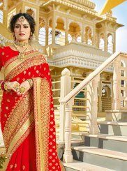 Embroidered Red Georgette Classic Saree