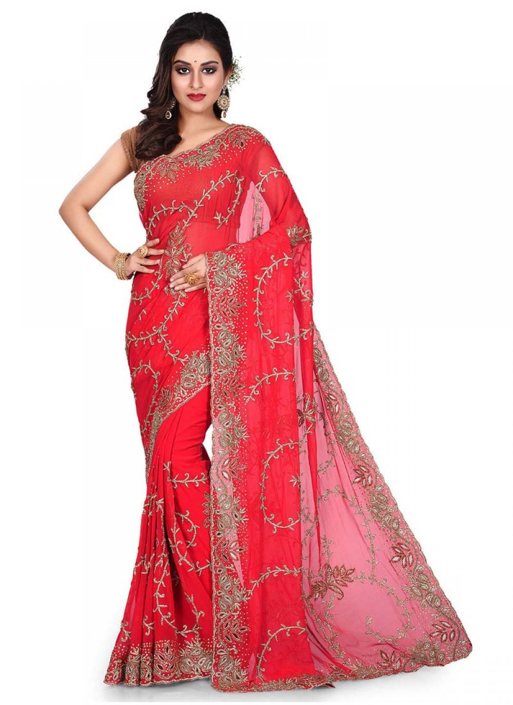 Embroidered Red Georgette Designer Traditional Saree