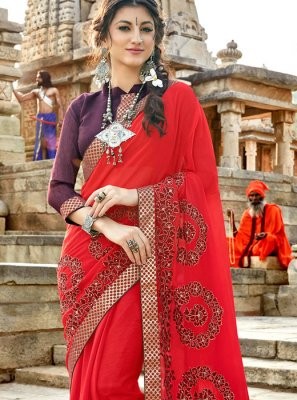 Embroidered Red Georgette Traditional Saree