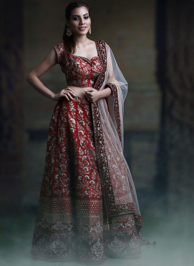 Embroidered Red Malbari Silk  Designer Lehenga Choli