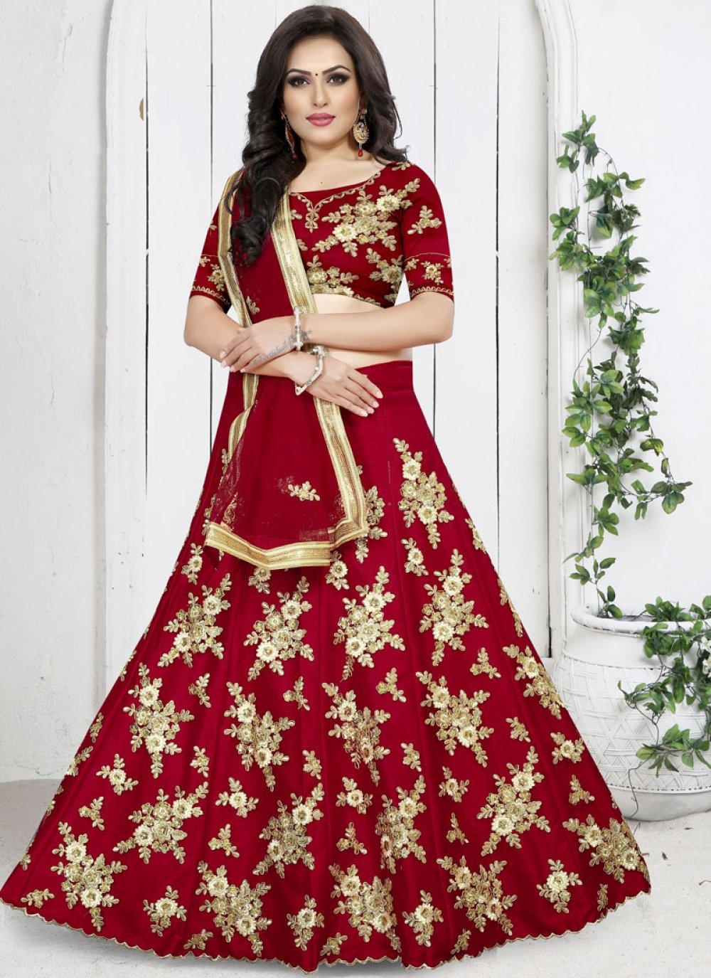 Embroidered Red Net Trendy Designer Lehenga Choli