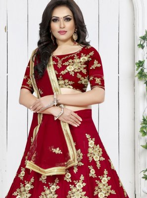 Embroidered Red Net Trendy Designer Lehenga Choli