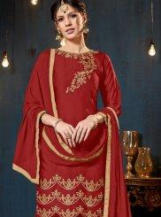 Embroidered Red Satin Designer Pakistani Suit