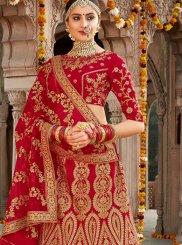 Embroidered Red Silk Designer Lehenga Choli