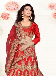 Embroidered Red Trendy Designer Lehenga Choli
