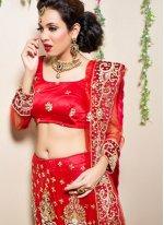 Embroidered Red Trendy Lehenga Choli