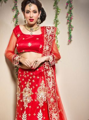 Embroidered Red Trendy Lehenga Choli
