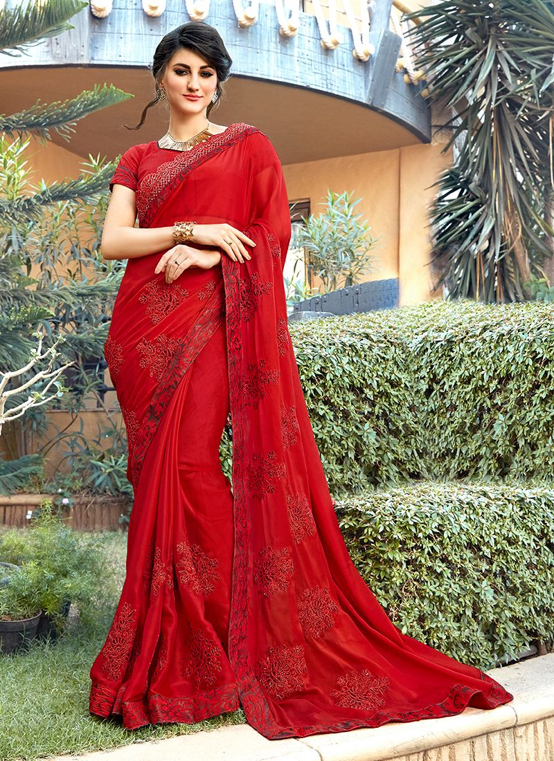 Embroidered Red Trendy Saree