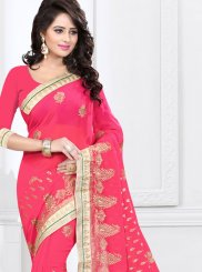 Embroidered Rose Pink Classic Designer Saree