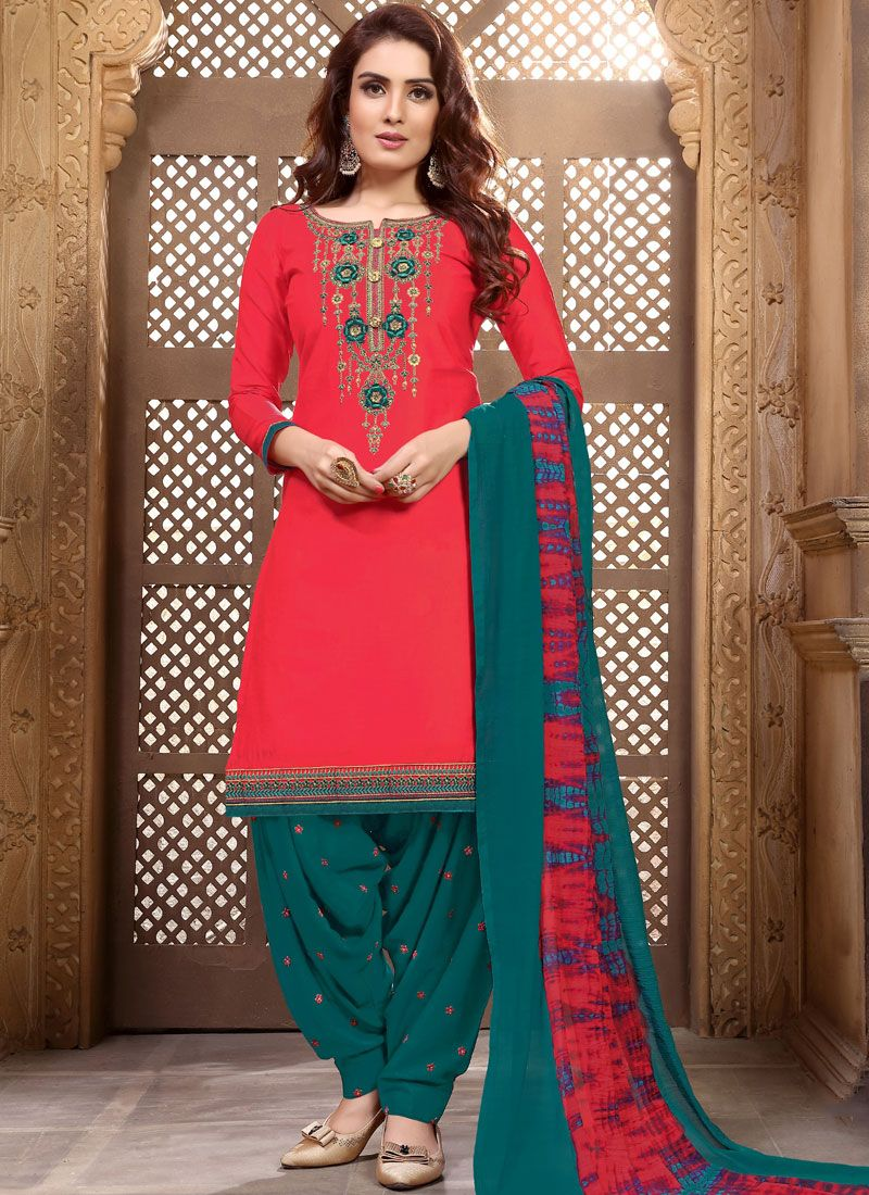 Embroidered Rose Pink Faux Georgette Designer Patiala Suit