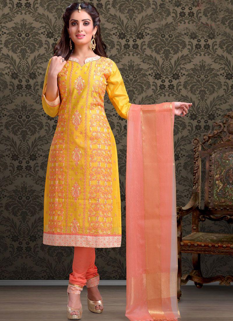 Embroidered Sangeet Churidar Salwar Suit